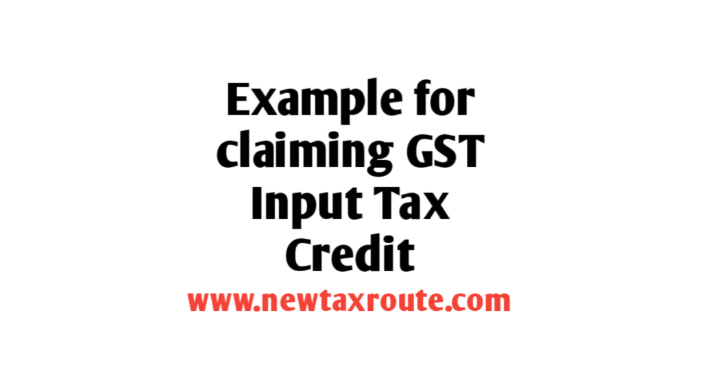 input tax credit under gst with example