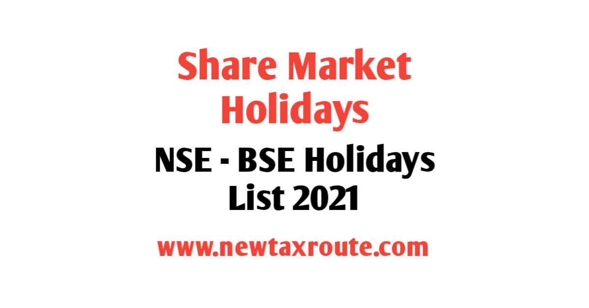 Share Market Holidays 2021
