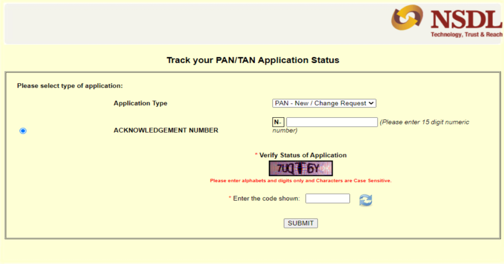 PAN Card tracking based on Acknowledgement no.