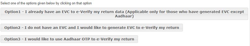 aadhar otp verification of ITR