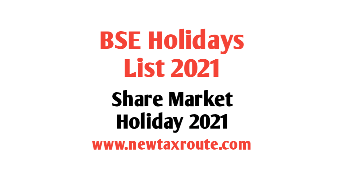 NSE Holidays List 2021 in India