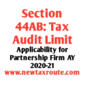 Tax Audit Limit For Partnership Firm AY 2020-21