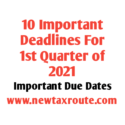 10 Important Deadlines for 1st Quarter of 2021