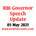 RBI Governor Speech Update Today 05 May 2021