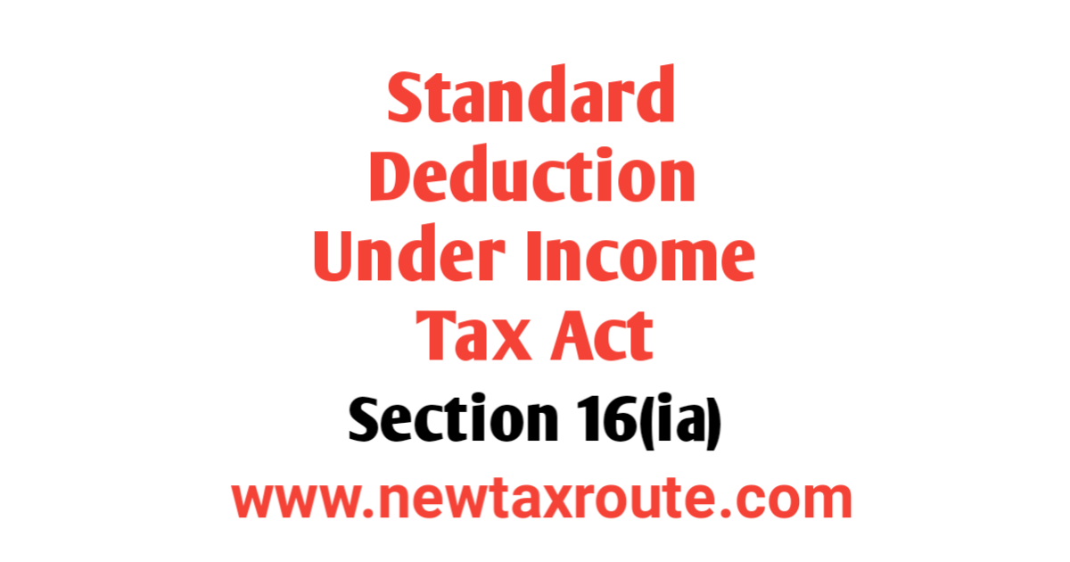 Standard Deduction Under Income tax Act