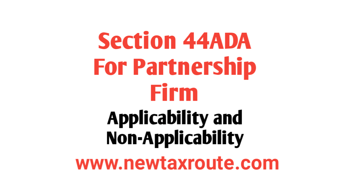 Section 44ADA For Partnership Firm