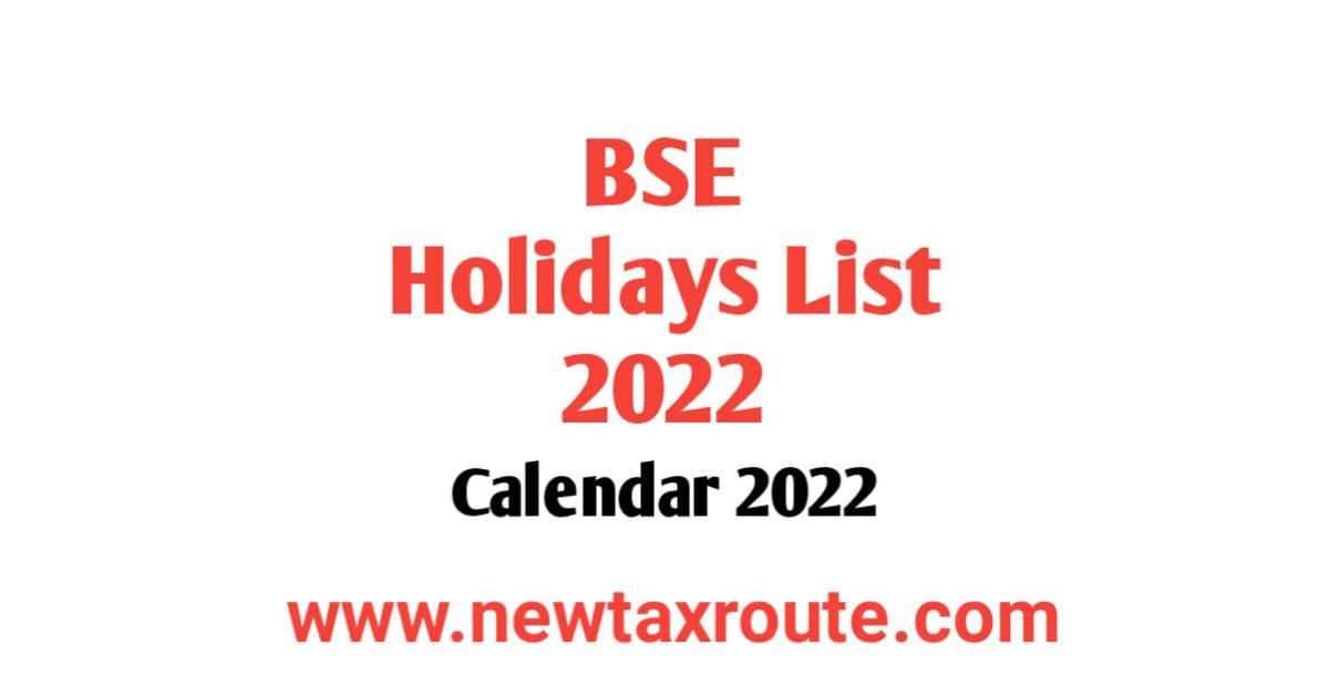BSE Holidays List 2022